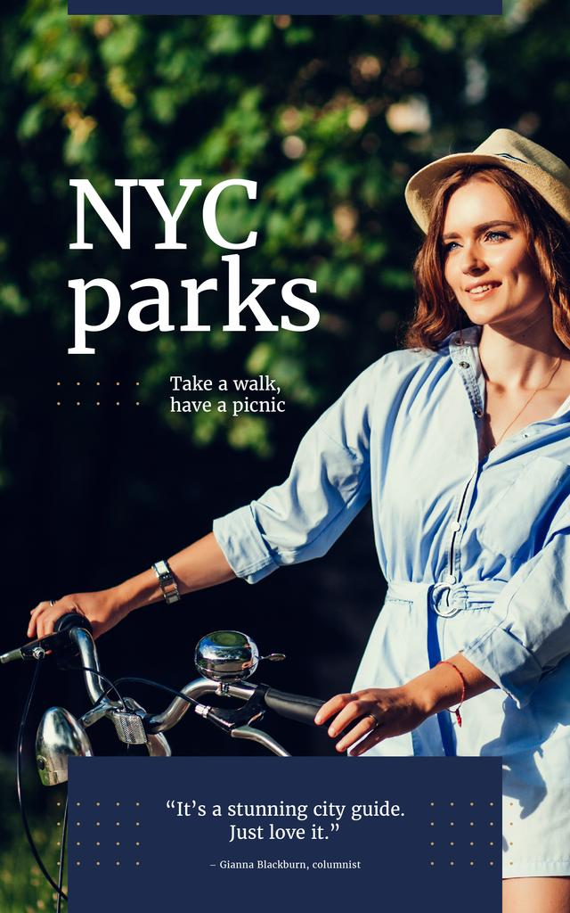 Woman with bike in city park — Create a Design