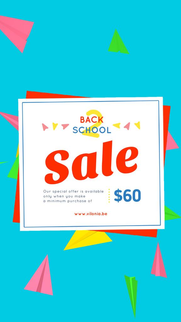 Back to School Sale Colorful Paper Planes on Blue | Vertical Video Template — Создать дизайн