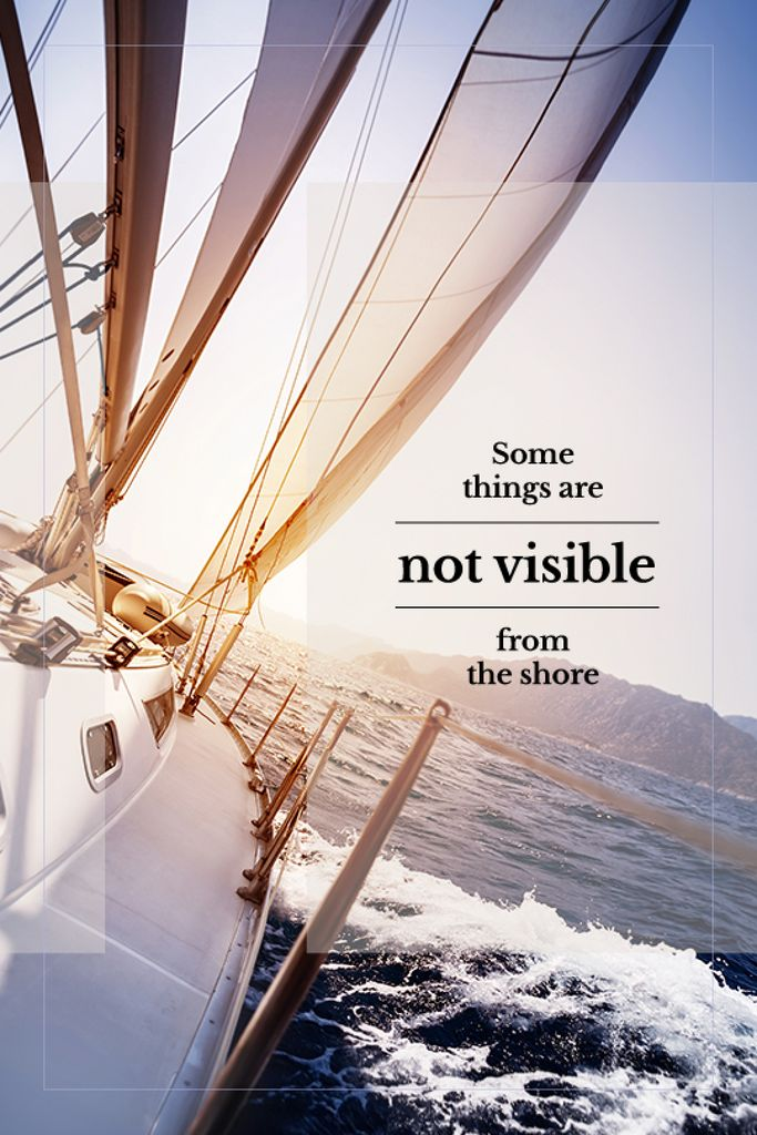 white sailing boat with inspirational quote — Modelo de projeto