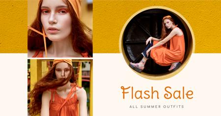 Szablon projektu Fashion Sale stylish Woman in Orange Facebook AD
