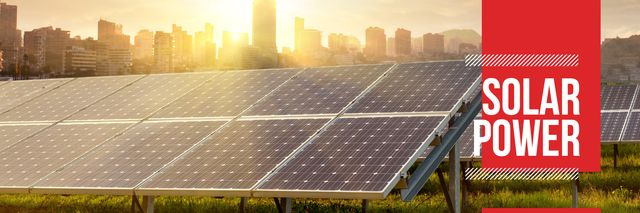 Ontwerpsjabloon van Twitter van solar power poster