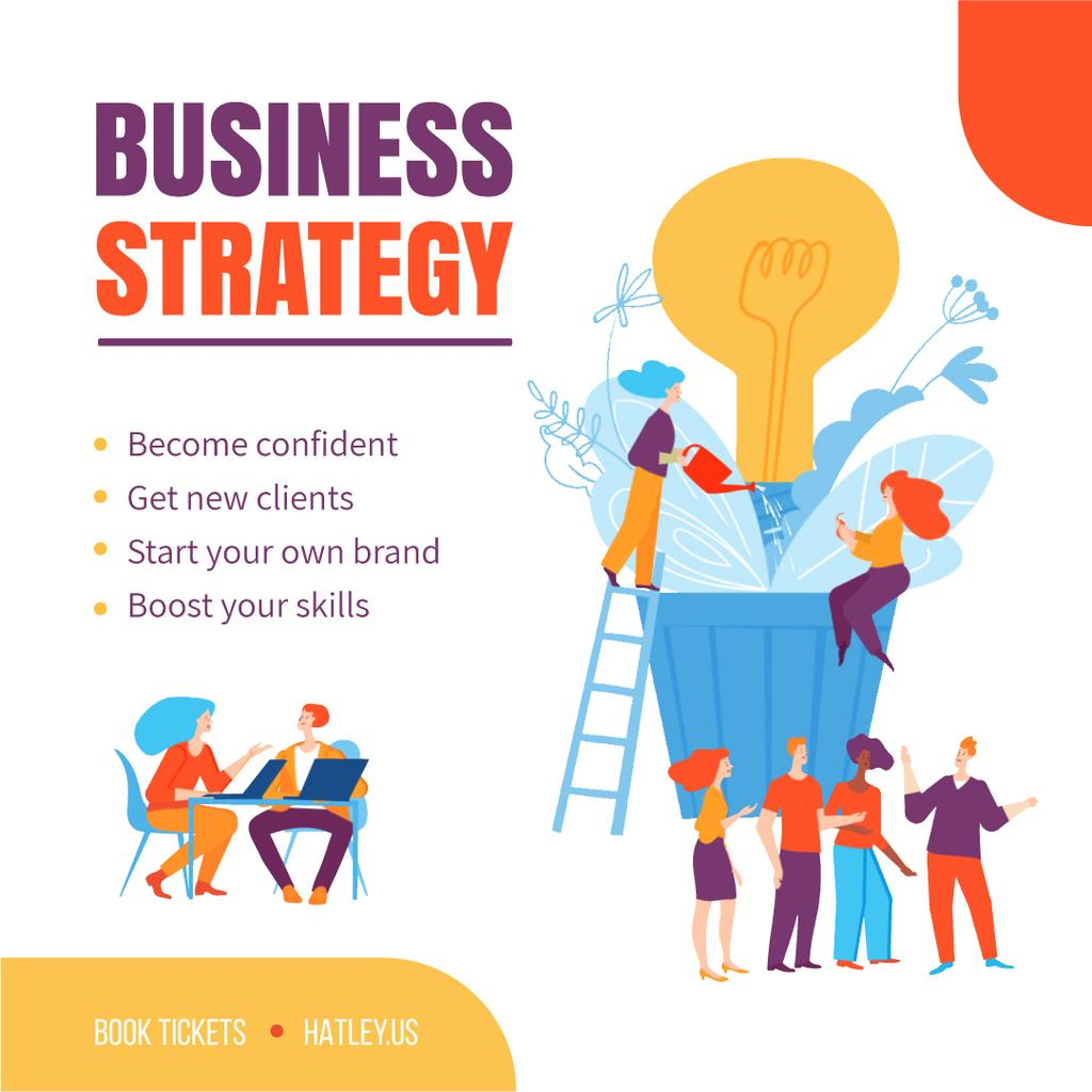 Business Strategy Courses People Growing Bulb — Modelo de projeto
