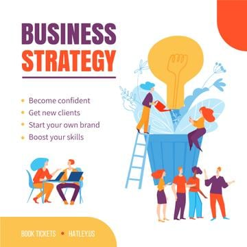 Business Strategy Courses People Growing Bulb | Square Video Template