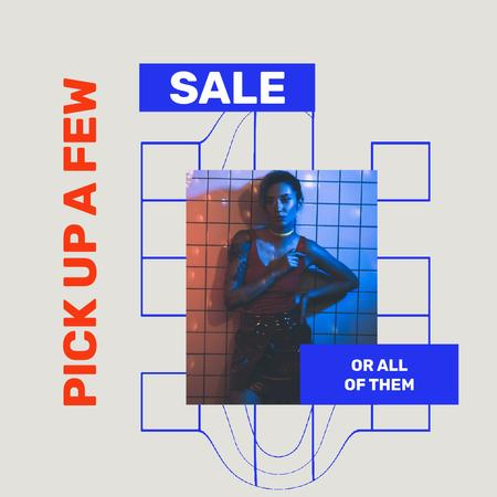 Fashion Sale with Stylish woman in neon lights Animated Post Tasarım Şablonu