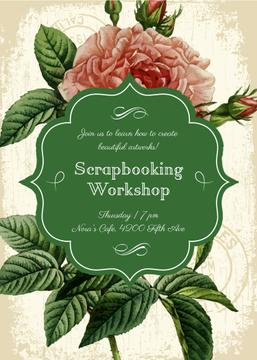 Scrapbooking workshop poster with rose
