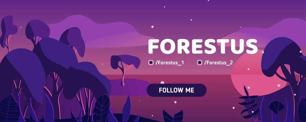 Magic Night Forest by the Ocean Twitch Profile Banner – шаблон для дизайну