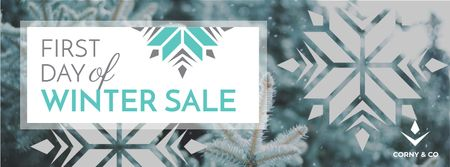 Plantilla de diseño de First Winter Day Sale with Tree Covered in Snow Facebook cover