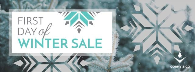 Szablon projektu First Winter Day Sale with Tree Covered in Snow Facebook cover