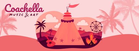 Plantilla de diseño de Girl at Coachella festival camp Facebook Video cover