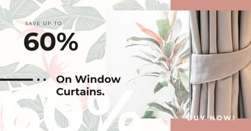 Curtains and printed wallpaper