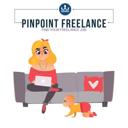 Freelancers working at home Animated Postデザインテンプレート
