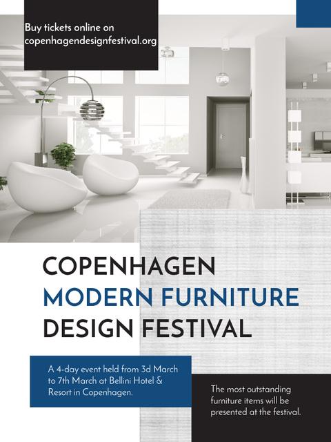 Furniture Festival ad with Stylish modern interior in white Poster US Modelo de Design