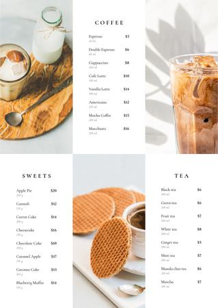 Ontwerpsjabloon van Menu van Cafe drinks and desserts