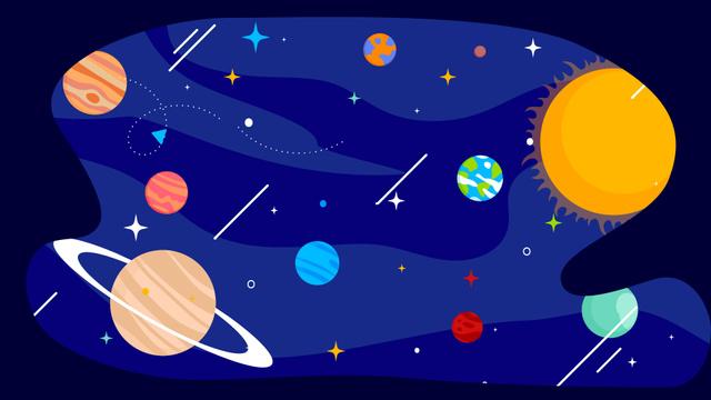 Ontwerpsjabloon van Zoom Background van Solar system Planets in space