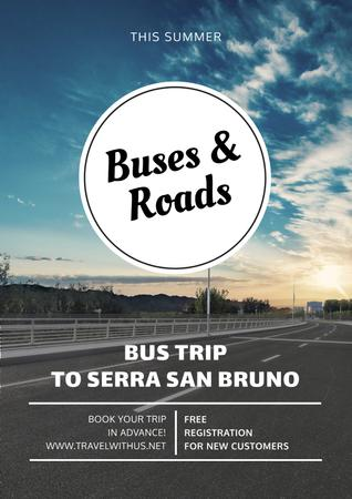 Plantilla de diseño de Bus trip with scenic road view Poster