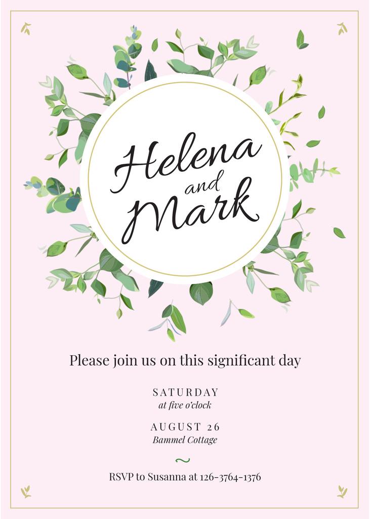 Wedding Invitation Elegant Floral Frame in Pink — ein Design erstellen