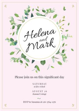 Wedding Invitation Elegant Floral Frame in Pink