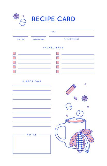 Designvorlage Falling Spices to Cup für Recipe Card