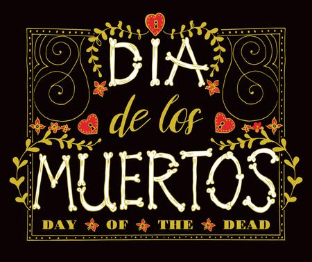 Template di design Dia de los muertos decorative frame Facebook