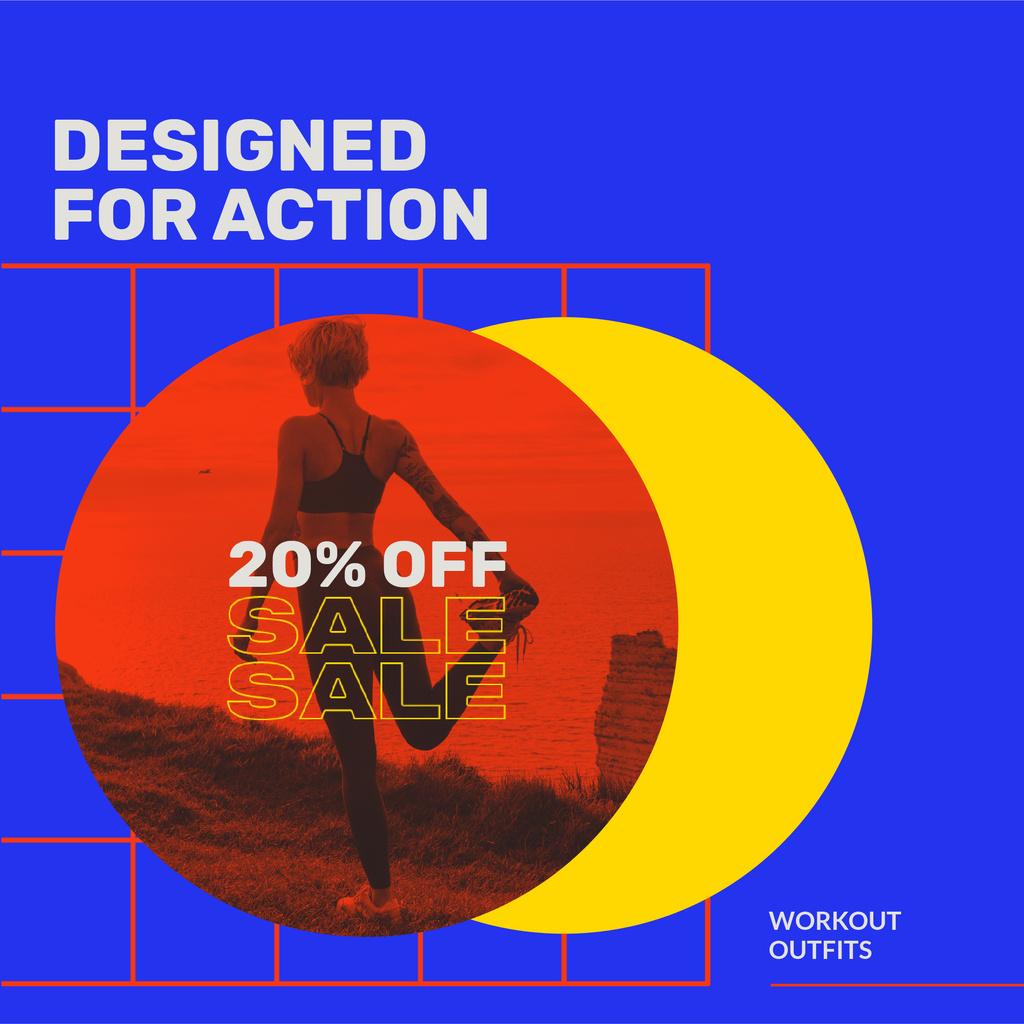 Sport equipment Sale with Woman workout — ein Design erstellen