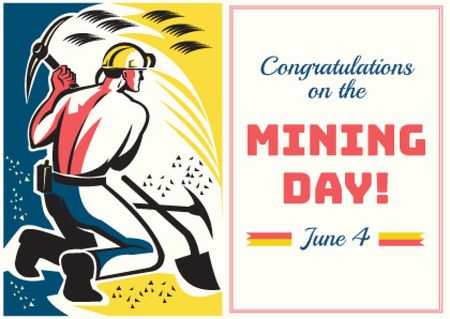 Ontwerpsjabloon van Card van Miming day congratulations with worker