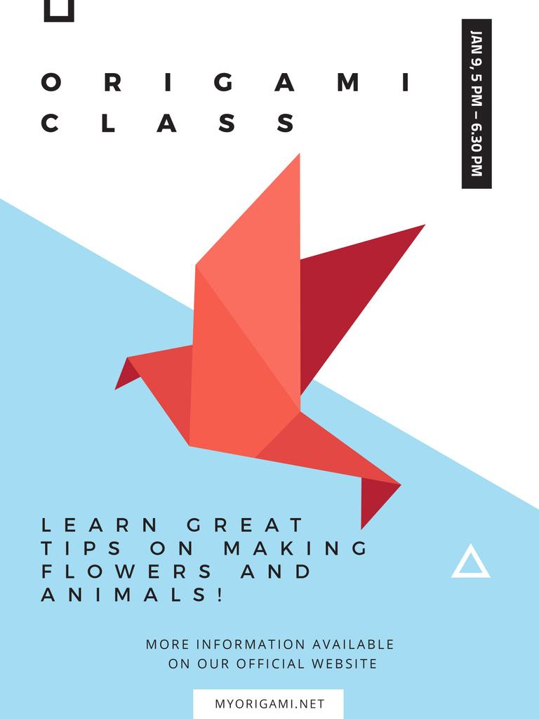 Plantilla de diseño de Origami Classes Invitation Paper Bird in Red Poster US