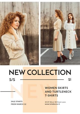 Clothes Store Promotion with Women in Casual Outfits Poster Modelo de Design