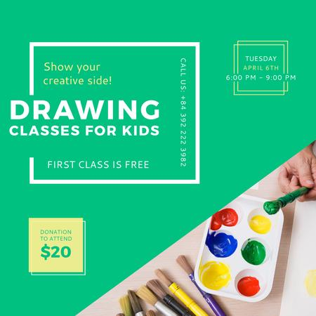 Ontwerpsjabloon van Instagram van Advertisement for Drawing lessons for Kids
