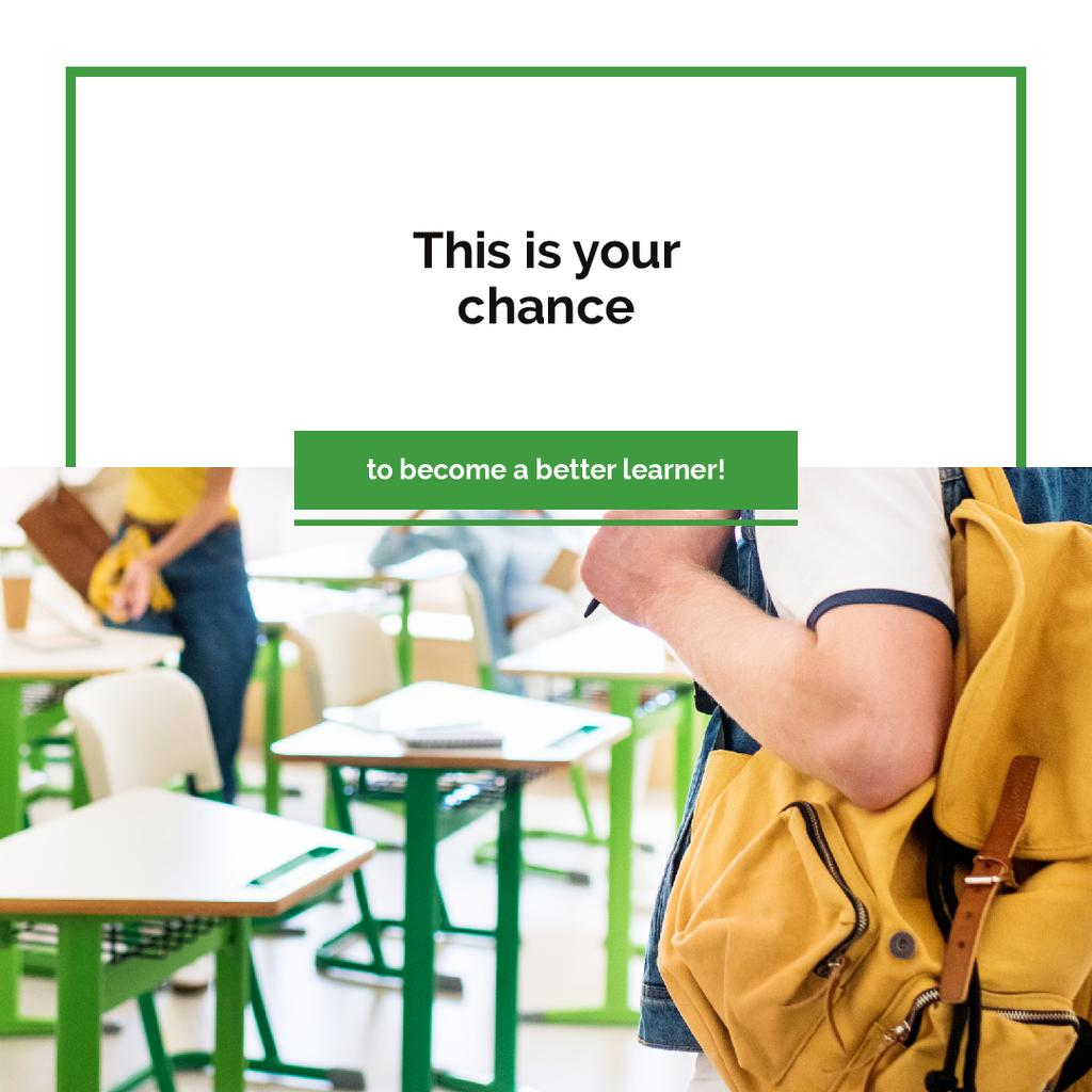 Education Quote Student with Backpack in Classroom | Instagram Ad Template — Создать дизайн