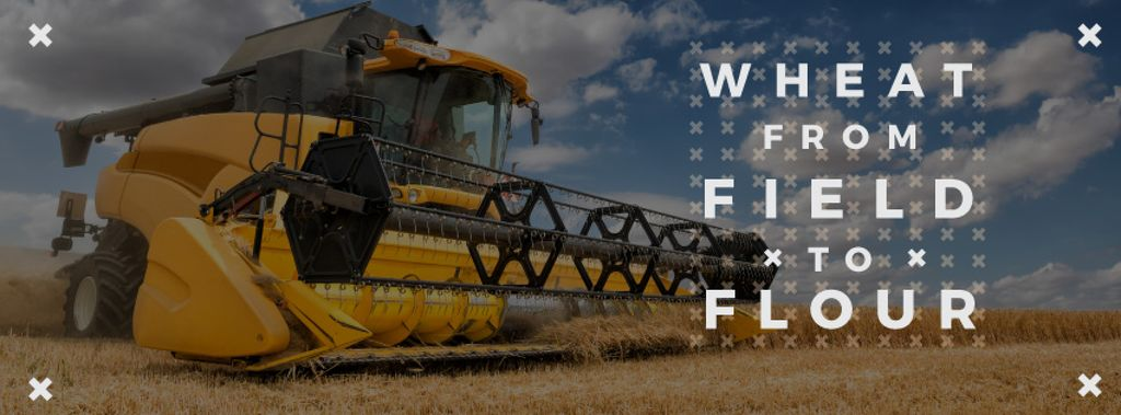 Wheat from field to flour poster with combine-harvester — Создать дизайн