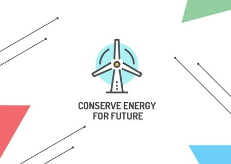 Conserve Energy Wind Turbine Icon Postcard – шаблон для дизайна