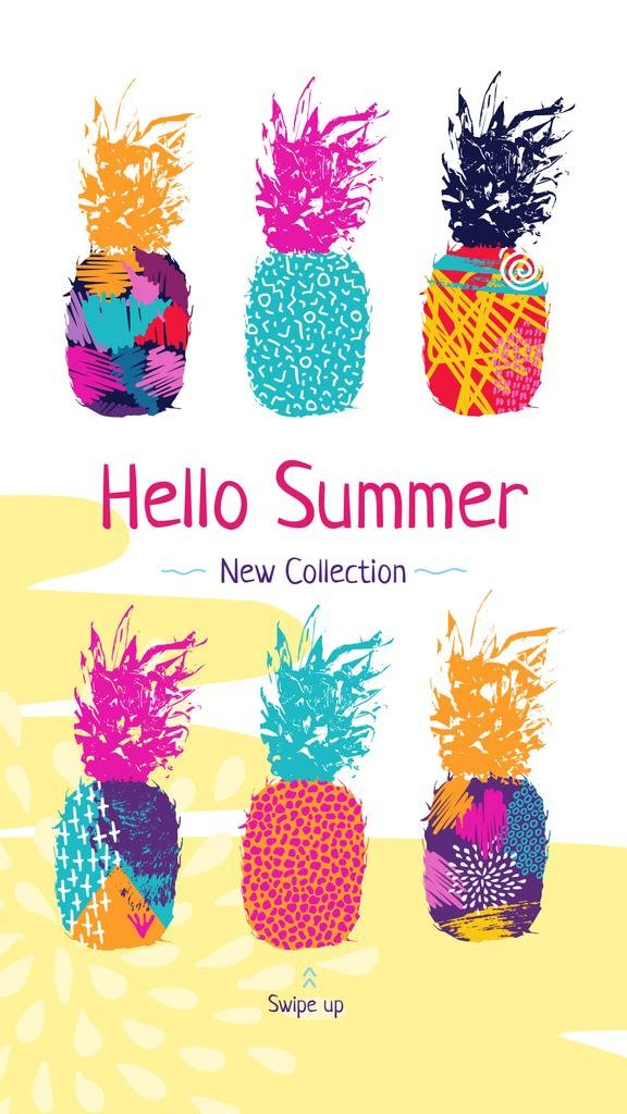 Summer Promotion Colorful Pineapple Prints | Stories Template — Створити дизайн