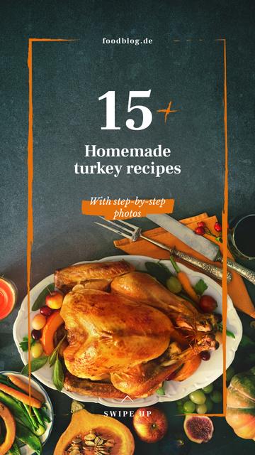 Plantilla de diseño de Roasted whole Thanksgiving turkey Instagram Story