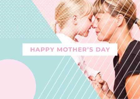Happy Mother's Day with Mother and Daughter Postcard – шаблон для дизайну