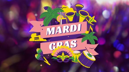 Mardi Gras carnival attributes Full HD videoデザインテンプレート