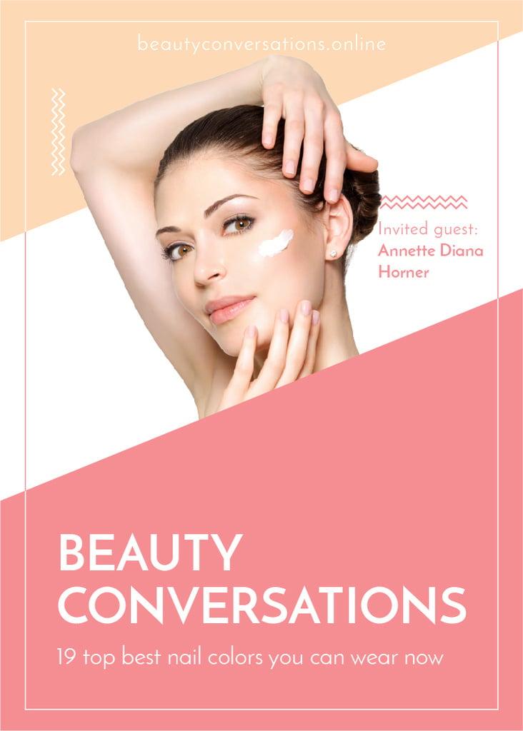Woman applying Cream at Beauty event — Crear un diseño