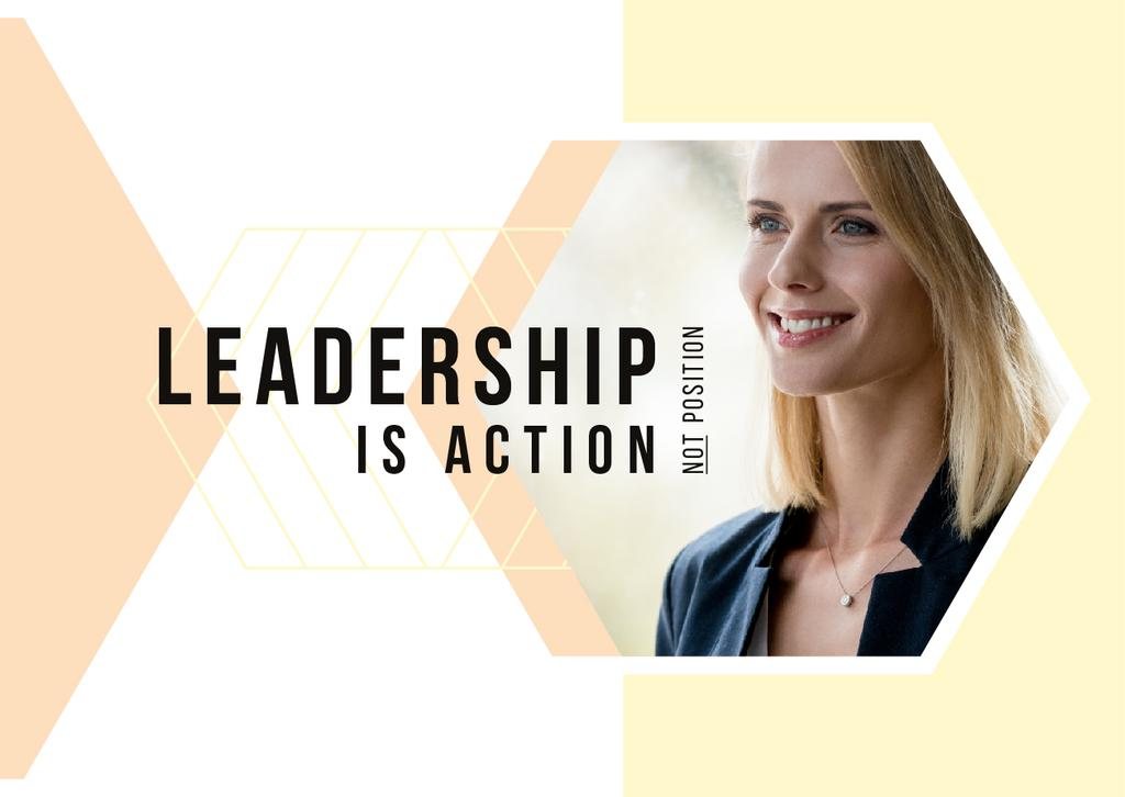 Leadership Concept Confident Young Woman | Postcard Template — Crear un diseño