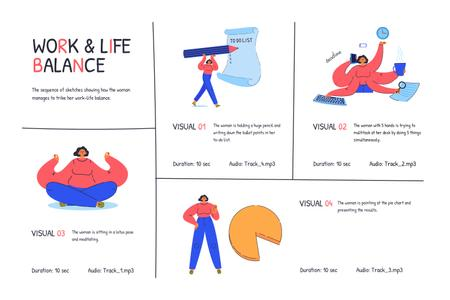 Illustrations of Work and Life balance Storyboard Modelo de Design