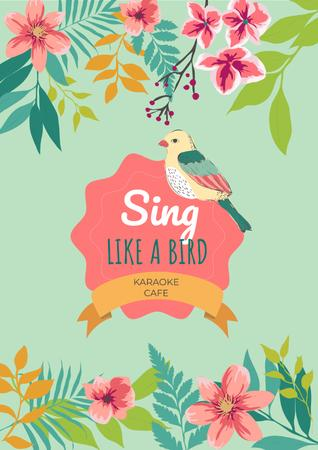 Karaoke cafe Ad with cute bird Poster Modelo de Design