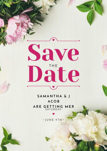 Save the Date Annoucement with Peony Flowers Frame Poster Design Template