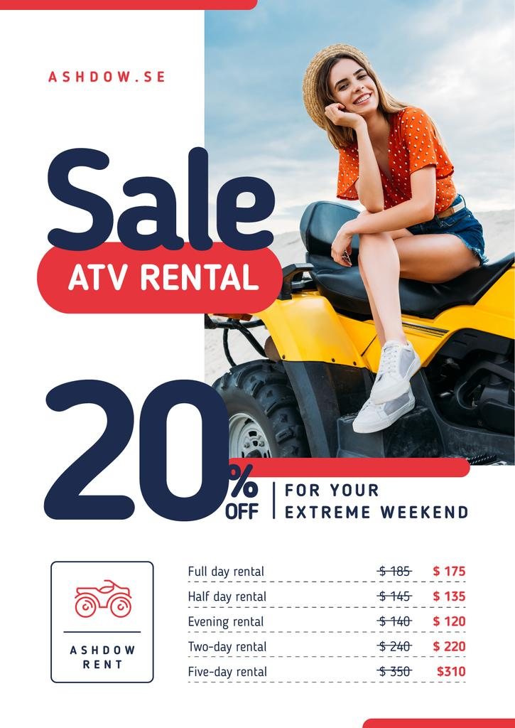 ATV Rental Services with Girl on Four-track — Créer un visuel