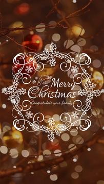 Christmas Greeting with Shiny Decorations | Vertical Video Template