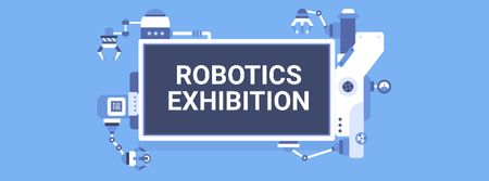 Plantilla de diseño de Robotics Exhibition Ad Automated Production Line Facebook cover
