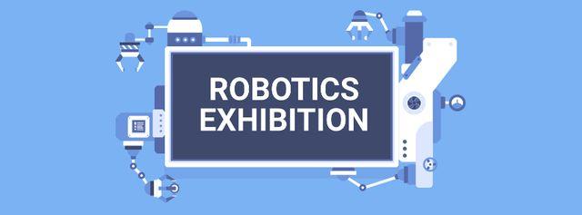 Robotics Exhibition Ad Automated Production Line Facebook cover – шаблон для дизайна