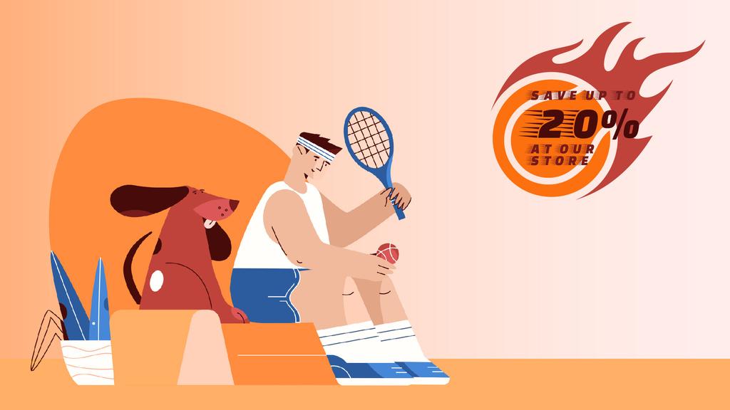 Sporting Goods Sale Tennis Player and Dog — Создать дизайн