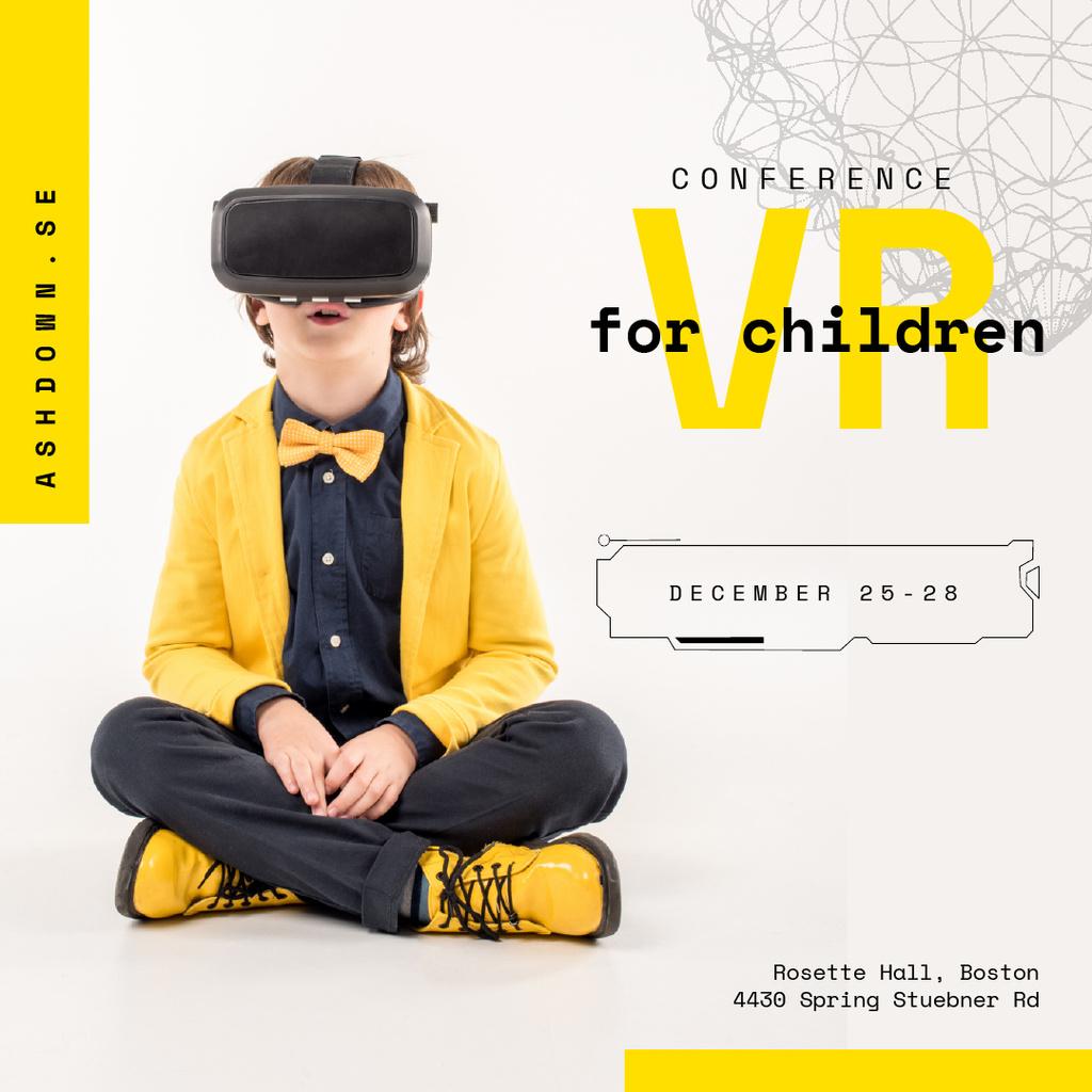 Boy in VR glasses in Yellow clothes — Maak een ontwerp