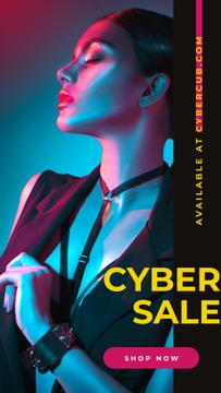 Cyber Monday Sale Woman in Neon Light | Stories Template