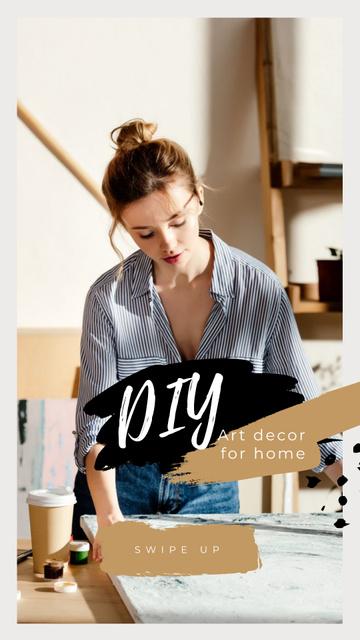 Art Decor for Home with Girl Artist Instagram Story Modelo de Design