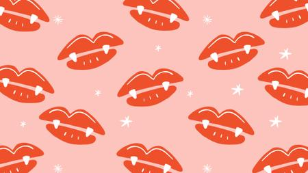 Designvorlage Lip prints with vampire teeth pattern für Zoom Background