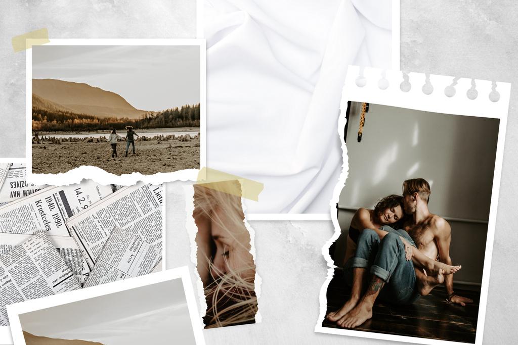 Plantilla de diseño de Happy couple Love Story Mood Board